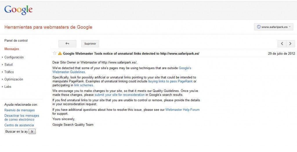Google Webmasters Tool for Safari Park