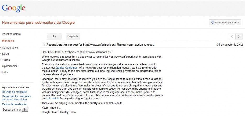 Google Webmasters Tool for Safari Park answer